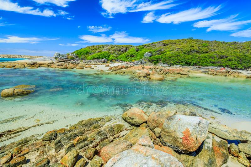 William Bay Western Australia. Scenic Madfish Island has the best William Bay rock pools. William Bay NP, Albany region, Western Australia. Sunny day with blue royalty free stock image