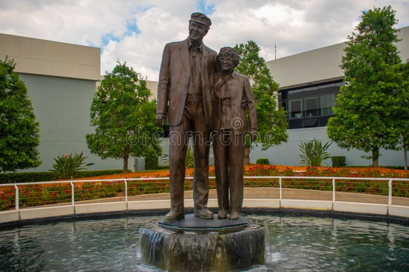 William Big Bill France and Anne Bledsoe Annie B France statues. They built Daytona International Speedway and founded NASCAR. Datytona, Florida. July 18, 2019 royalty free stock images