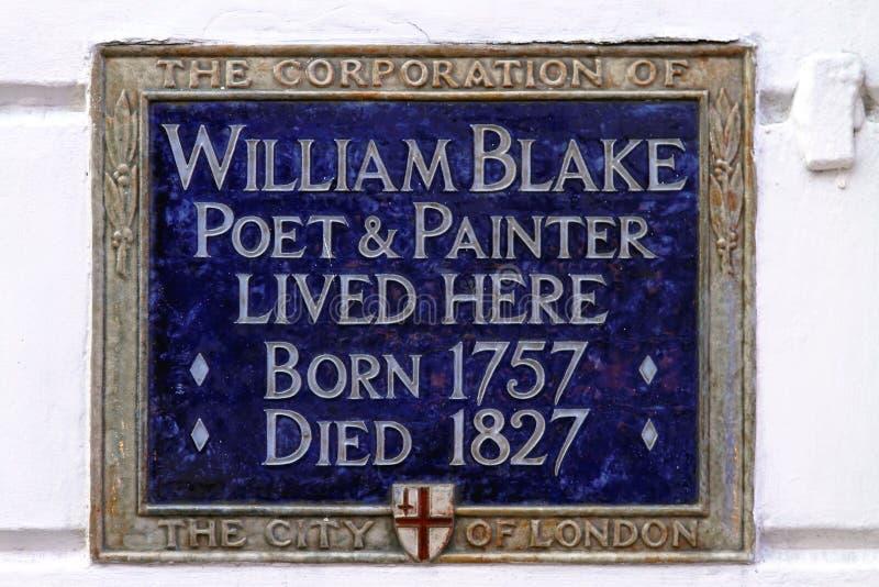 William Blake Plaque. LONDON, UNITED KINGDOM - DECEMBER 25: William Blake Plaque in London on DECEMBER 25, 2010. William Blake memorial blue plaque in London stock photos