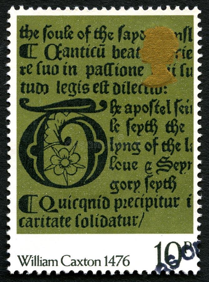 William Caxton UK portostämpel 1476 royaltyfria foton