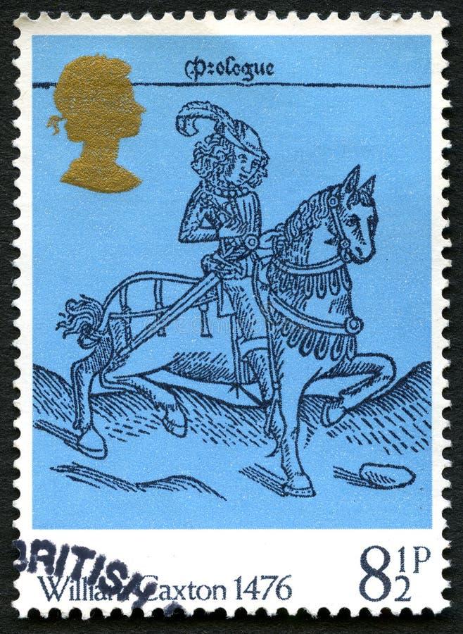 William Caxton UK portostämpel arkivbild
