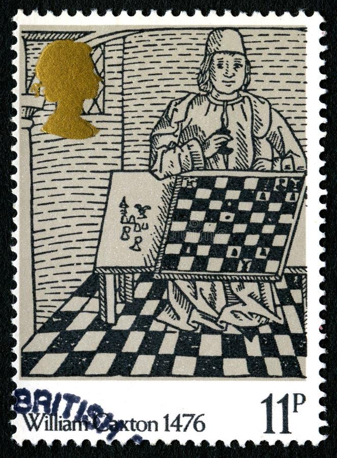 William Caxton UK portostämpel royaltyfria bilder