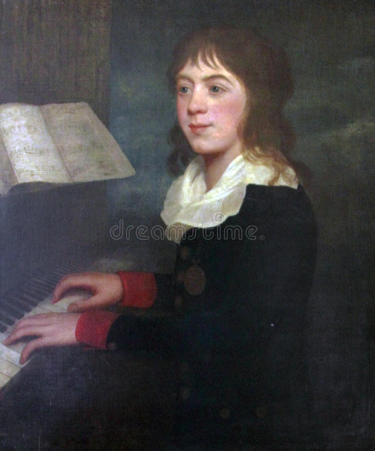 William Crotch, English composer, playing piano. William Crotch, (1775-1847), famous musician, composer, organist and artist. First Principal of the Royal stock photography
