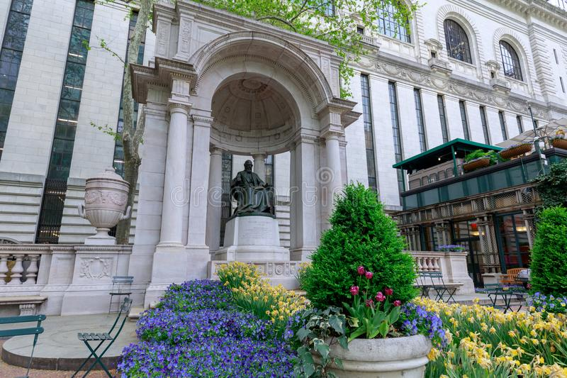The William Cullen Bryant Memorial in Bryant Park in NYC. New York, USA - May 7, 2018 : The William Cullen Bryant Memorial in Bryant Park in NYC royalty free stock photo