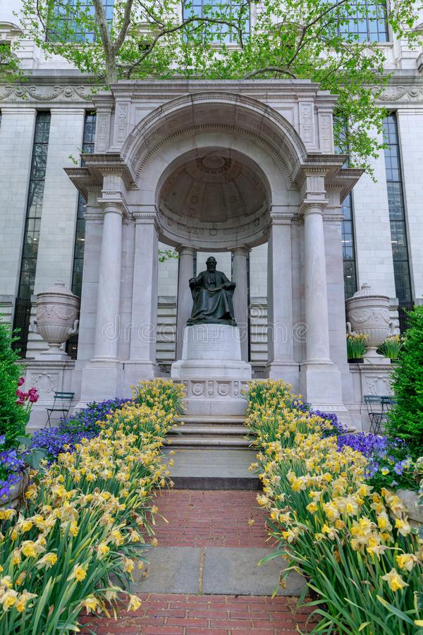 The William Cullen Bryant Memorial in Bryant Park in NYC. New York, USA - May 7, 2018 : The William Cullen Bryant Memorial in Bryant Park in NYC stock photography