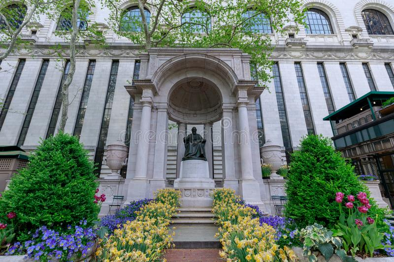 The William Cullen Bryant Memorial in Bryant Park in NYC. New York, USA - May 7, 2018 : The William Cullen Bryant Memorial in Bryant Park in NYC stock photo