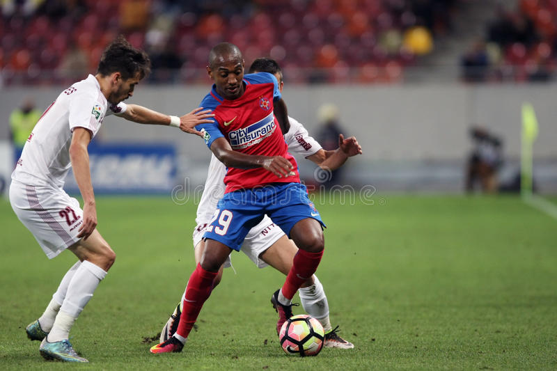 WILLIAM DE AMORIM. Steaua Bucharest's William de Amorim ( R ) in action during a soccer match Steaua Bucharest vs. CFR 1907 Cluj in Romania's Liga 1, matchday 9 royalty free stock photos
