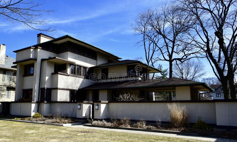 William E. Martin House. This is an early Spring picture of the historic William E. Martin House located in Oak Park, Illinois in Cook County. This three-story royalty free stock image