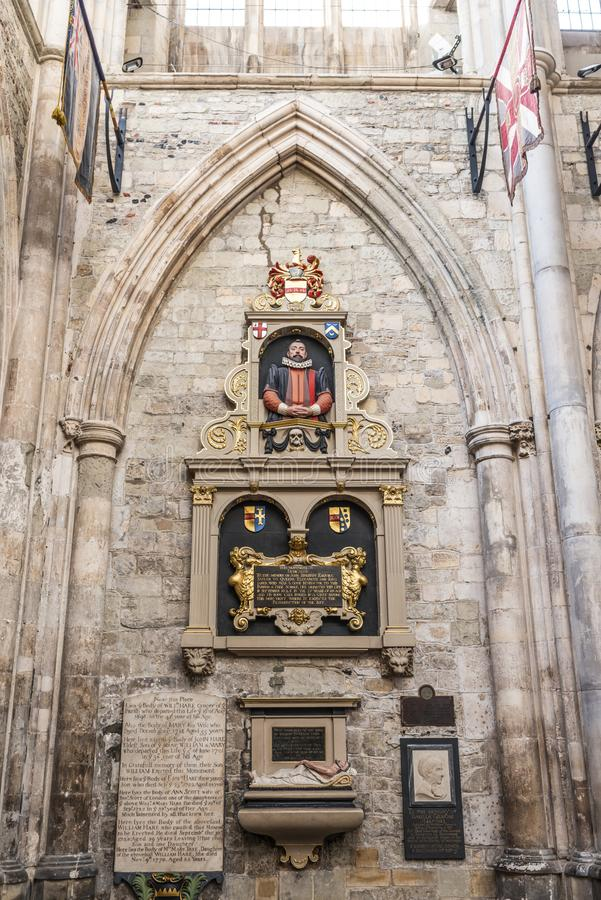 William Emerson. Tomb inside the Southwark Cathedral royalty free stock photography
