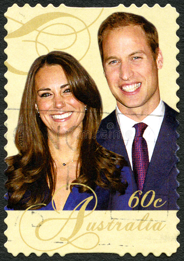 William et Kate Australian Postage Stamp images libres de droits