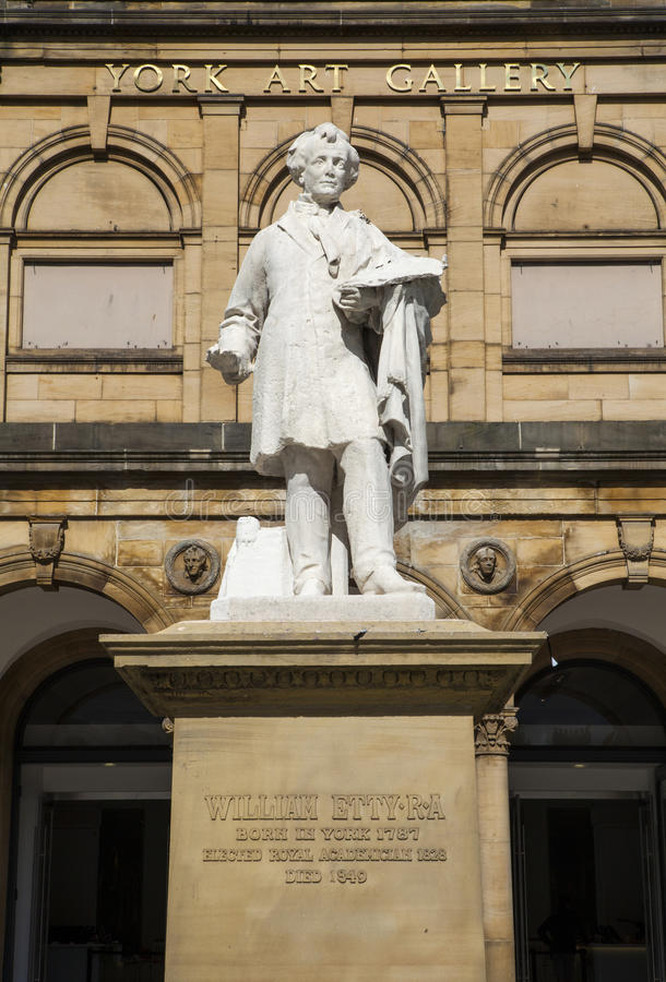 William Etty Statue y la York Art Gallery fotos de archivo