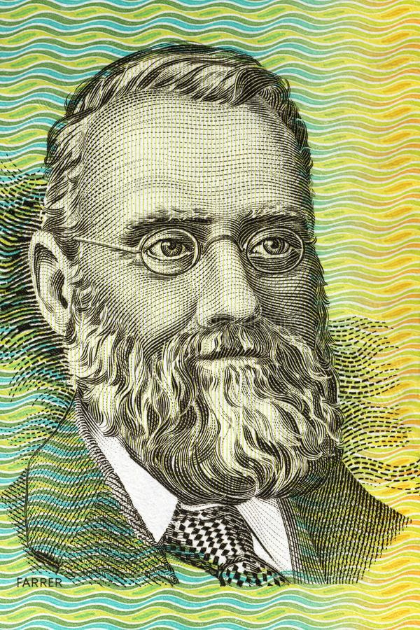 William Farrer portrait. From old Australian money royalty free stock photography