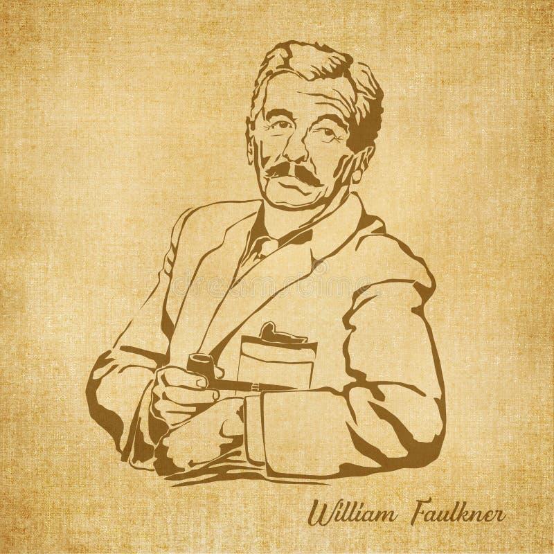 William Faulkner Digital Hand dragen illustration royaltyfri illustrationer