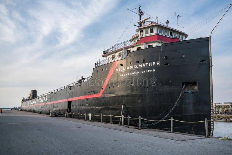 William G Mather ship docked in Cleveland, Ohio. The William G.Mather steamship docked in Cleveland, Ohio serves as a maritime museum stock photography