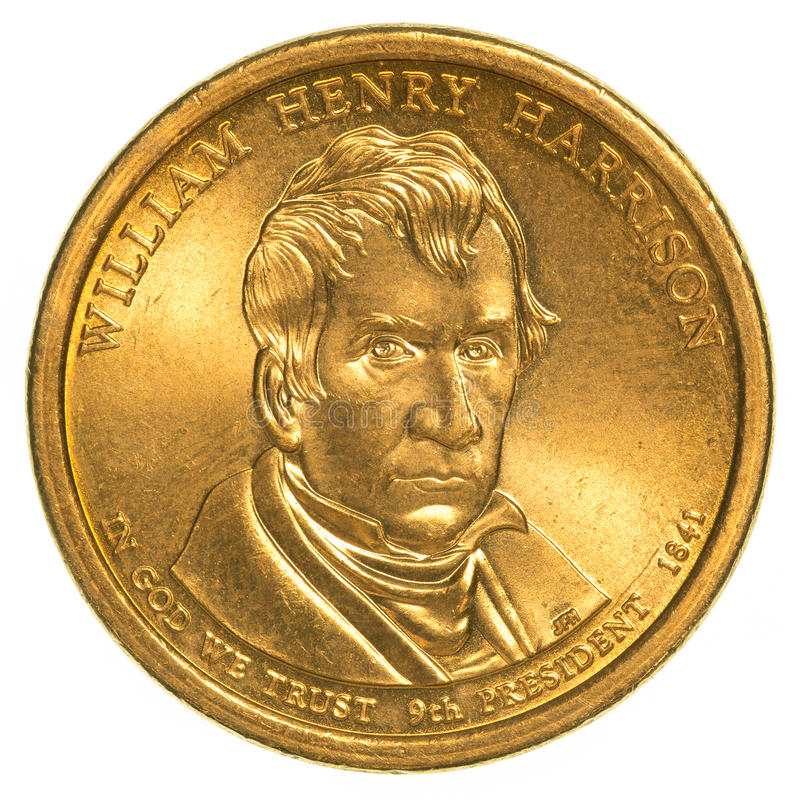 William Henry Harrison Golden eine Dollarmünze lizenzfreie stockfotos