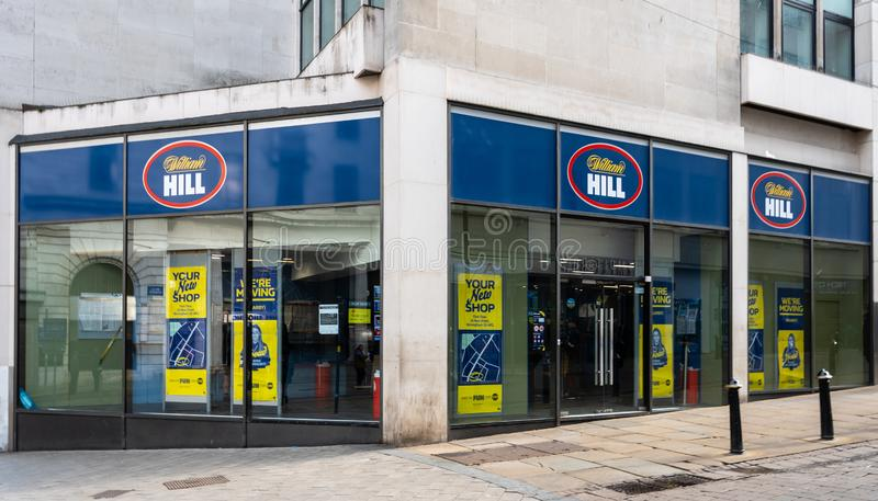 William Hill Birmingham. Birmingham, England - March 17 2019:   The front of WIlliam Hill Bookmakers on Bull Street stock photos