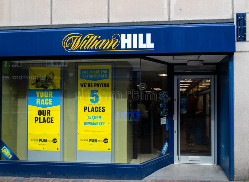 William Hill Swindon. Swindon, United Kingdom - May 04 2019:   The Frontage of William Hill Bookmakers on Regent Street stock image
