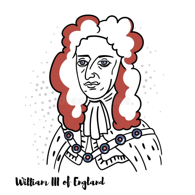 William III of England Portrait. William III of England flat colored vector portrait with black contours. Prince of Orange from birth, Overijssel in the Dutch vector illustration
