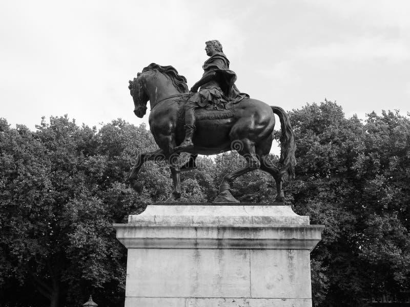 William III statue in Queen Square in Bristol in black and white stock photo