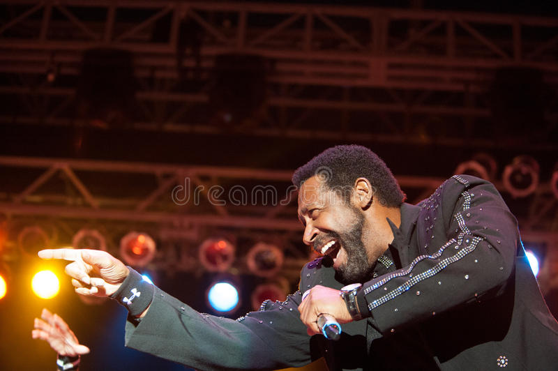 William King. CITRUS HEIGHTS, CA – September 8: William King with The Commodores performs at Sunrise Marketplace in Citrus Heights, California on royalty free stock photography
