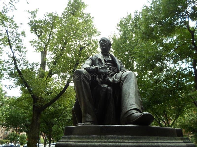 William Lloyd Garnizonowa statua, wspólnoty narodów alei centrum handlowe, Boston, Massachusetts, usa zdjęcie stock