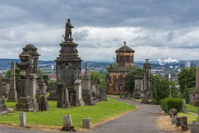 William McGavin statue on hill top t Glasgow Necropolis, Scotland UK. stock image