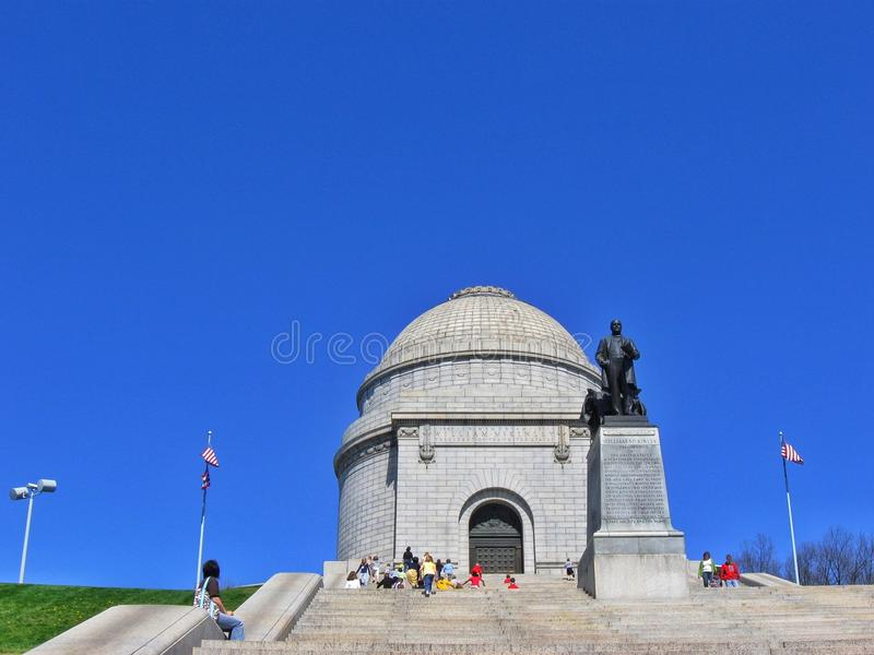 William McKinley Presdential Monument Canton Ohio. Visitors climb the steps at the historical McKinley Monument in downtown Canton under clear blue skies royalty free stock image