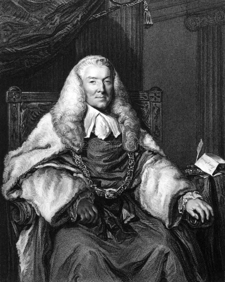 William Murray, 1st Earl of Mansfield. (1705-1793) on engraving from 1832. British barrister, politician and judge noted for his reform of English law. Engraved royalty free stock photography