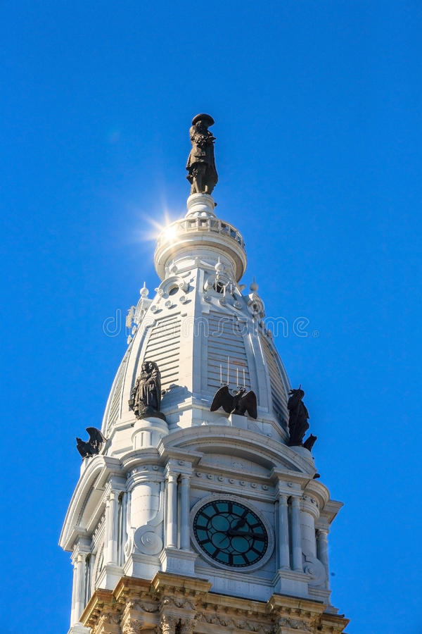 William Penn statue on a top of City Hall. Philadelphia stock image