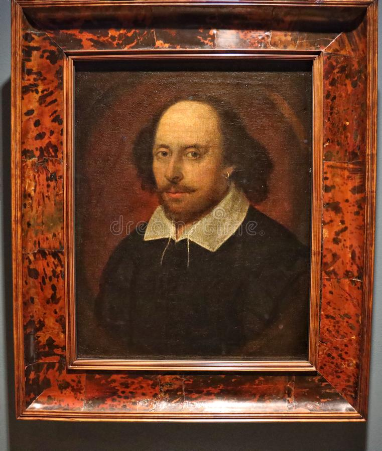 Portrait of William Shakespeare, Associated with John Taylor. William Shakespeare bapt. 26 April 1564 – 23 April 1616 was an English poet, playwright and royalty free stock photos
