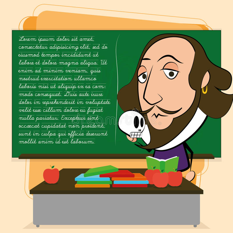 William Shakespeare Cartoon In une scène de salle de classe illustration libre de droits