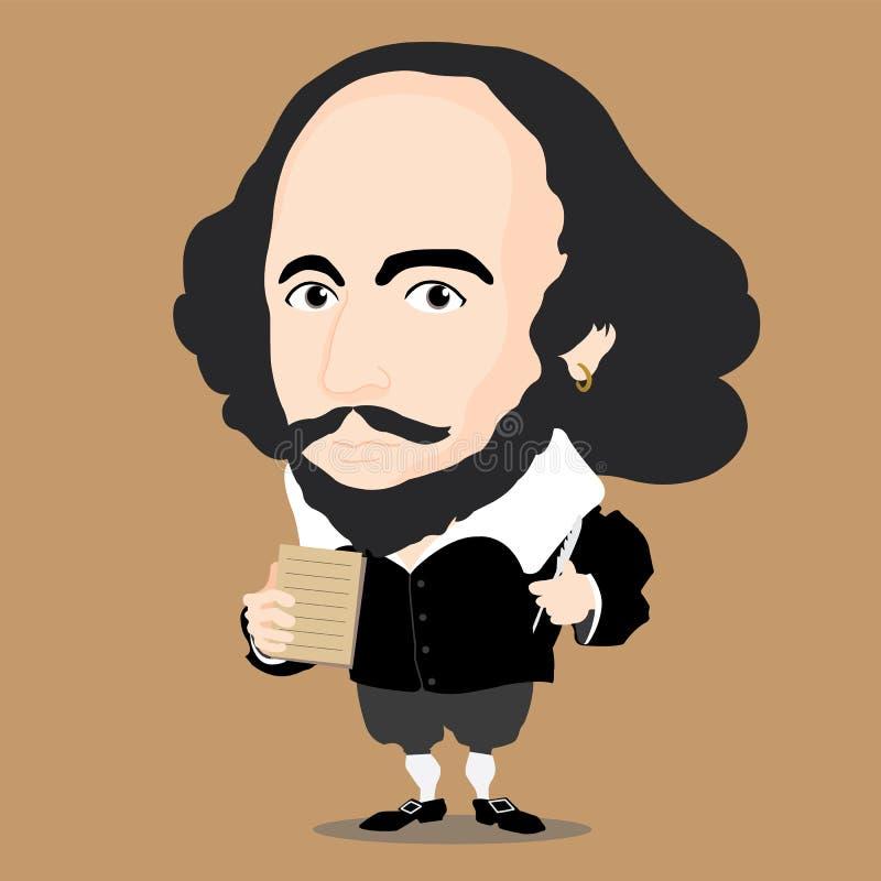 William Shakespeare Character illustration stock
