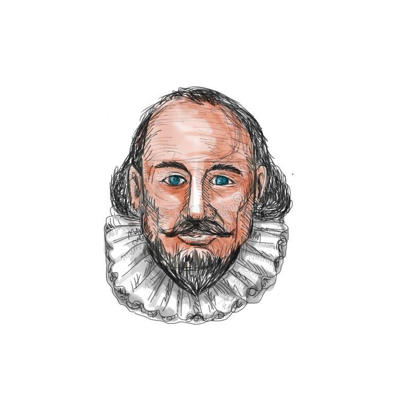 William Shakespeare głowy akwarela royalty ilustracja
