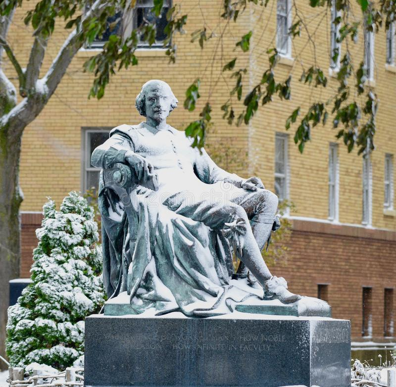 William Shakespeare Monument Covered in Snow royalty free stock image