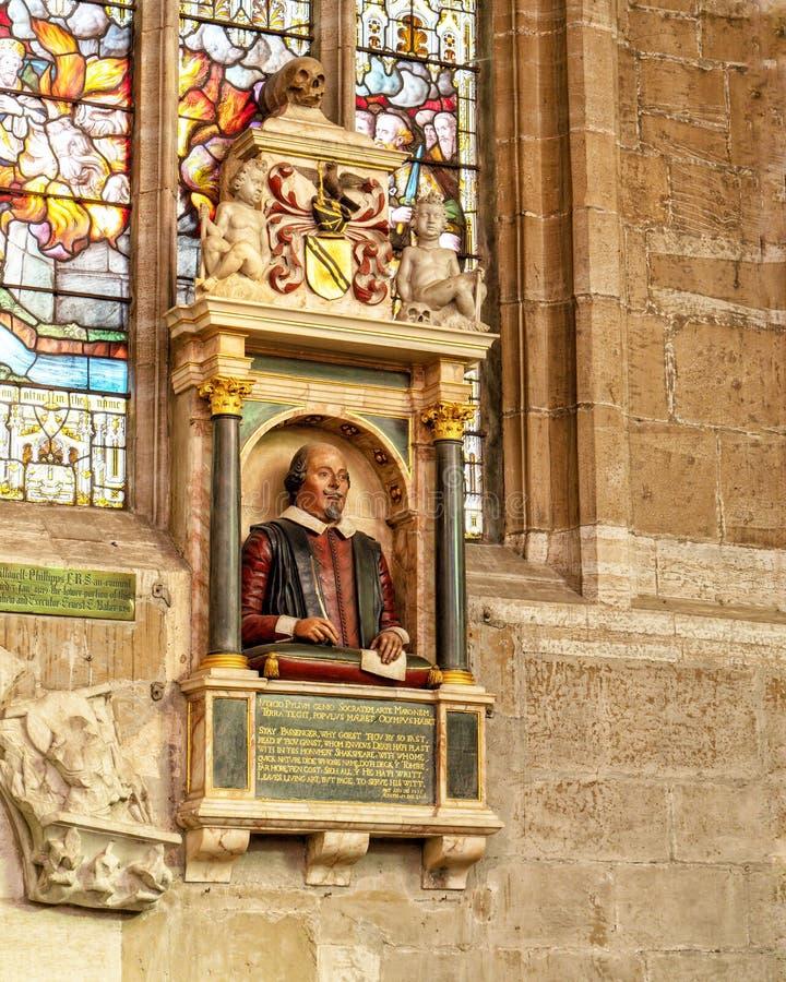 William Shakespeare popiersie, Świętej trójcy kościół, Stratford na Avon, Anglia fotografia stock