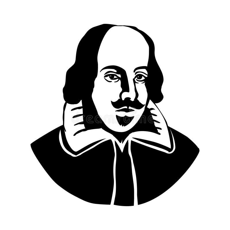 William Shakespeare Portrait de vecteur de William Shakespeare illustration stock