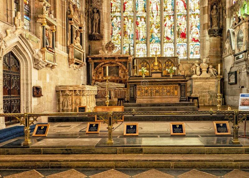 William Shakespeare`s and family graves, Holy Trinity Church, Stratford upon Avon, England. royalty free stock image