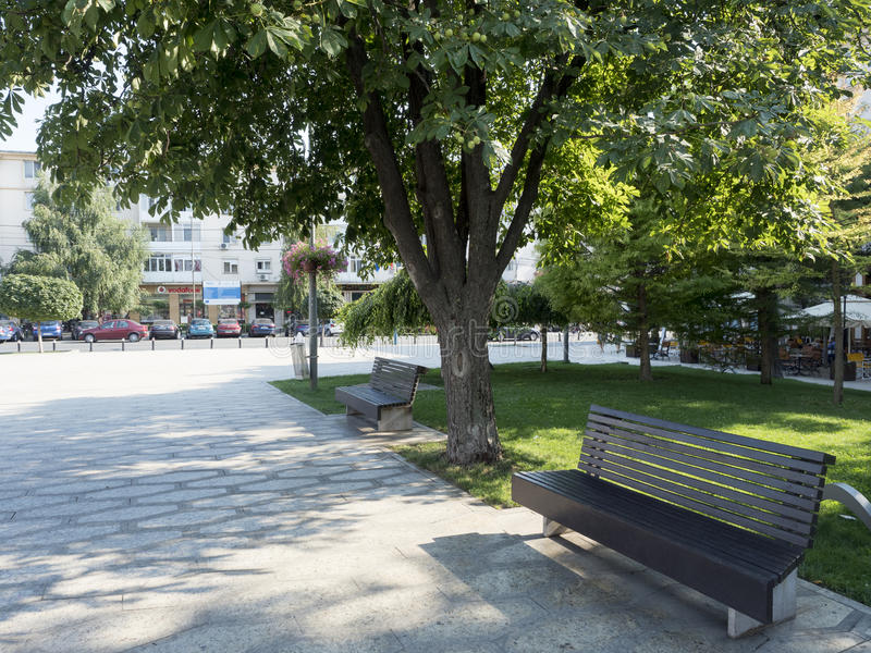 William Shakespeare square, Craiova, Romania. William Shakespeare square in Craiova, Romania. Craiova is Romania`s 6th largest city and capital of Dolj County royalty free stock image