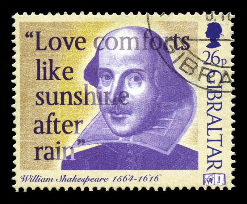 William Shakespeare znaczek pocztowy fotografia royalty free
