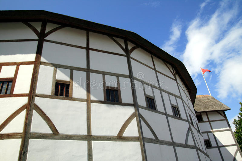 William Shakespeares Globe Theatre. Which is situated beside the River Thames on the South Bank opposite St Paul's Cathedral stock photography