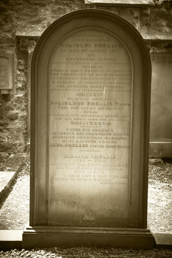 William Smellie Grave i Edinburg Encyklopedi Britannica royaltyfri fotografi