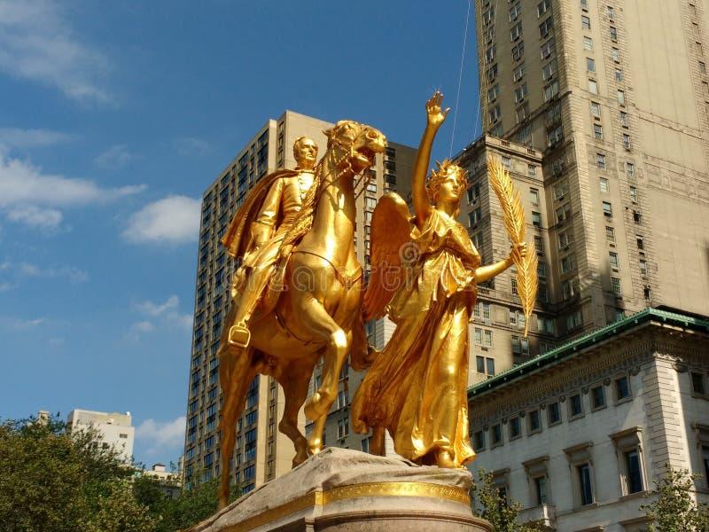 William Tecumseh Sherman Sherman pomnik lub Sherman zabytek Mistrzowskim rzeźbiarza Augustus świętym, Manhattan, NYC, NY, usa fotografia royalty free