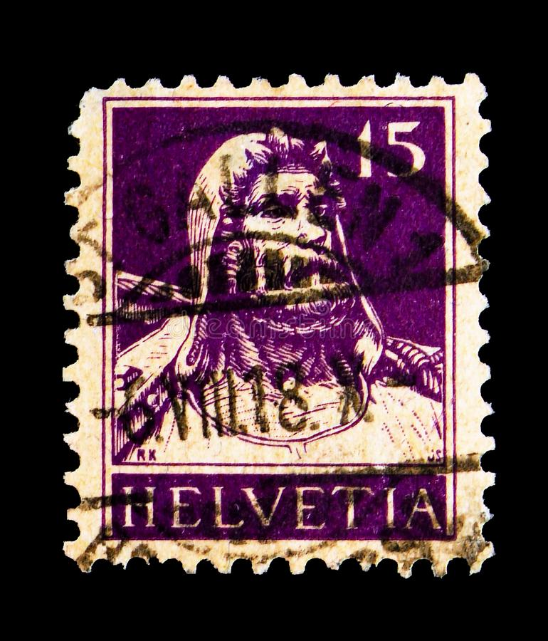 William Tell, serie, circa 1914. MOSCOW, RUSSIA - MAY 15, 2018: A stamp printed in Switzerland shows William Tell, serie, circa 1914 royalty free stock photos