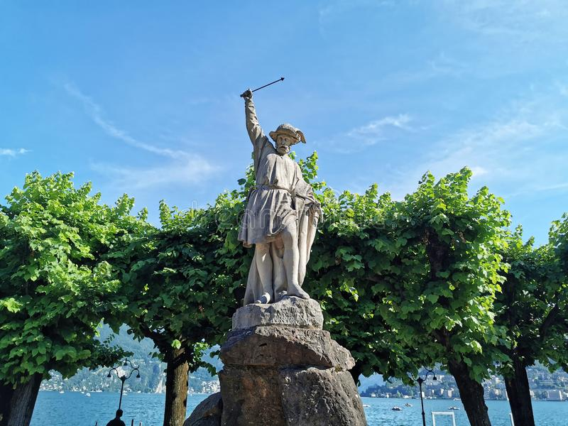 William tell statue sculpture in Lugano. Detail royalty free stock photos