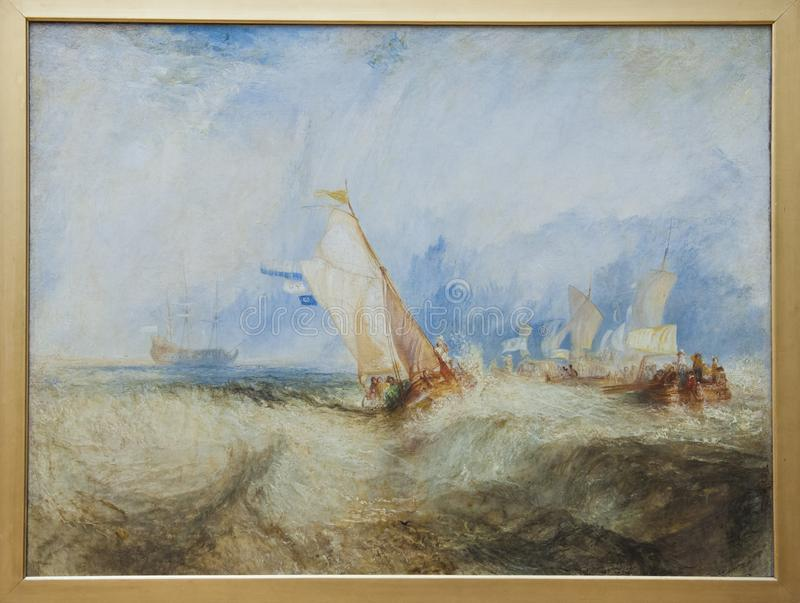William Turner, naves en el mar, 1844, centro de Getty ilustración del vector