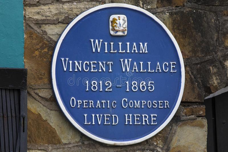 William Vincent Wallace Plaque i Waterford royaltyfria foton