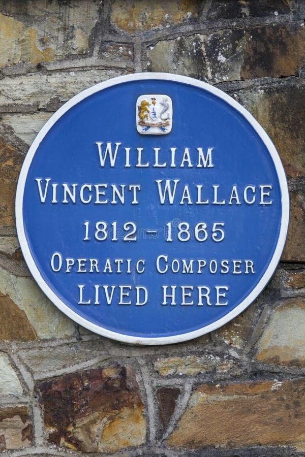 William Vincent Wallace Plaque i Waterford fotografering för bildbyråer
