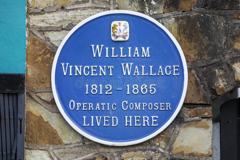 William Vincent Wallace Plaque i Waterford arkivfoton