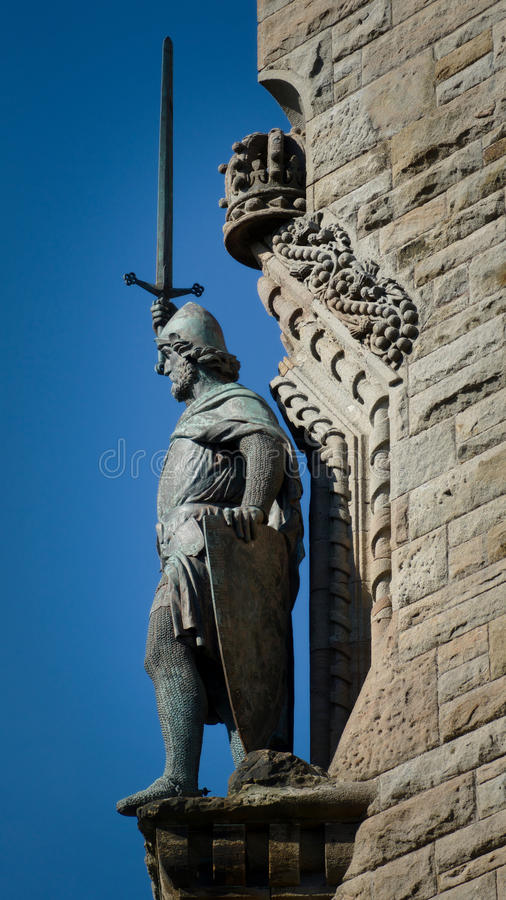 William Wallace. Statue on the Wallace Monument near Stirling in Scotland royalty free stock image