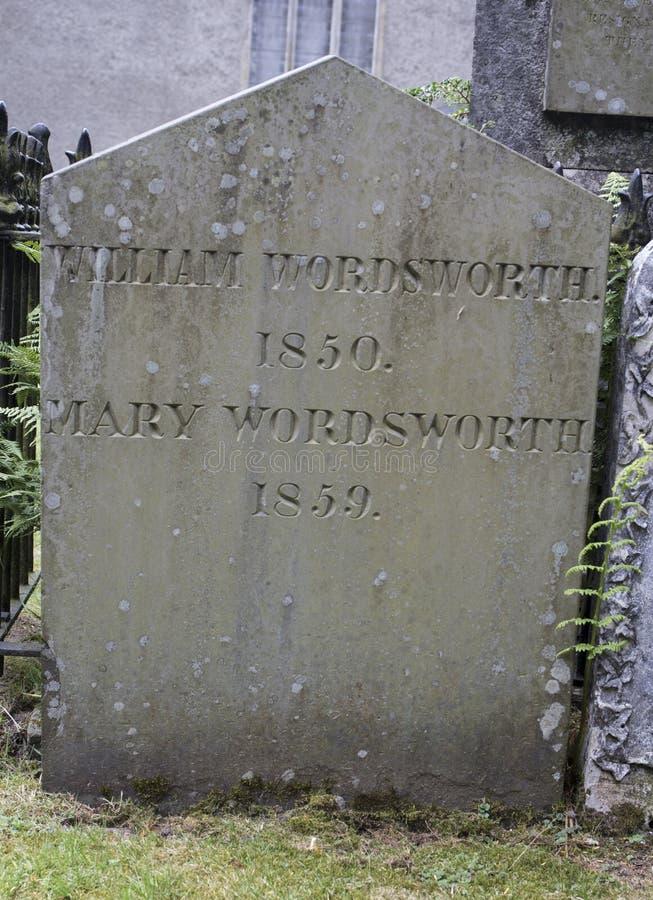 William Wordsworth - kyrka för St Oswalds, Grasmere royaltyfria foton